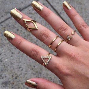 ring set, gold ,triangle,jewellery,musthave