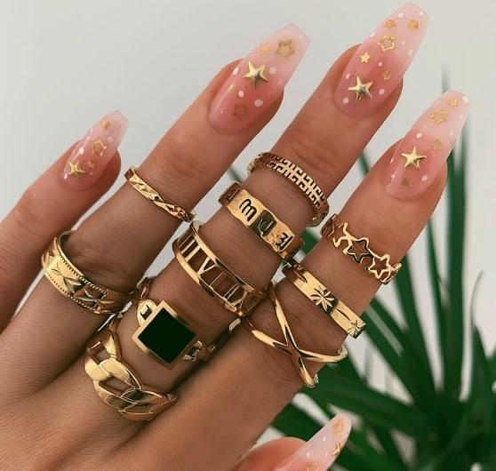 ring set, gold, jewellery, black stone, roman numbers