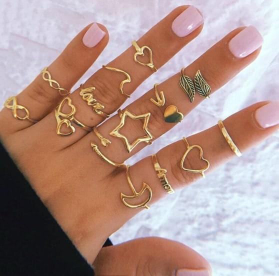ring set, heart, star, minimalist