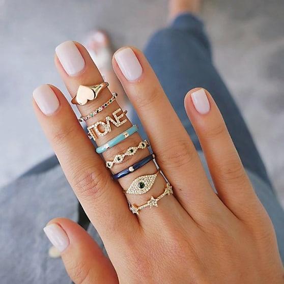 ringen set, goud, love, dames, sieraad, sieraden, cadeau, evil eye, hartje