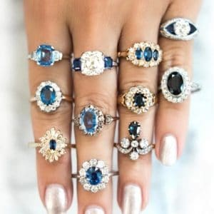 ring set, crystal stones, blue, zirconia, jewellery