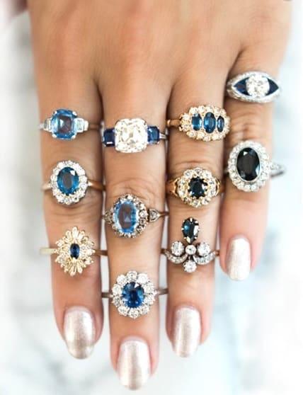 ringen set, zirconia, kristallen steentjes, blauw, sieraden
