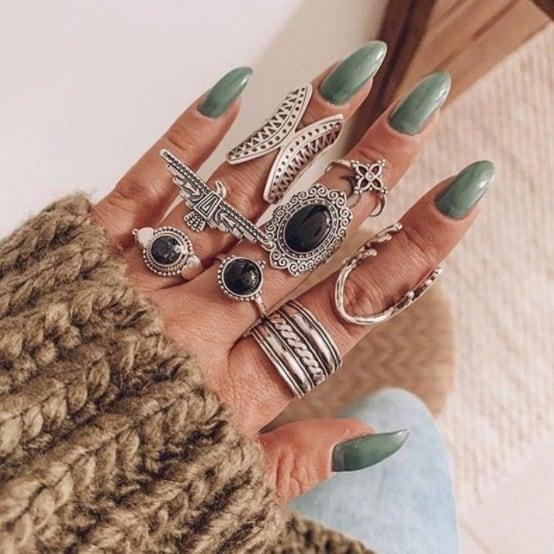 ringen set, zilver, zwarte steen, vogel, hert, dieren, dames, sieraden, jewellery