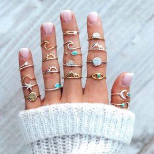 ringen set, zilveren, gouden,berg,rond,ster,wave,golf,oog, sieraden