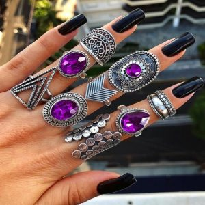 ring set, purple, silver, jewellery, stone