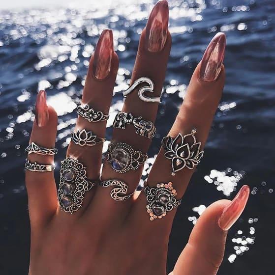 ringen set, golf ring, wave ring, zilveren ringen, aphrodite, sieraden