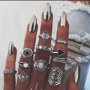 ring set, zilver, sieraden, ringparty,zwarte steen