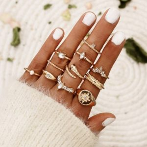 ring set, snake, gold, crystal