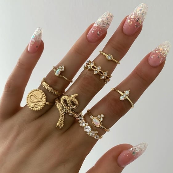 ringen set, snake, goud, sieraden