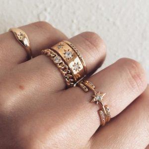ring set, stargaze, sterren, goud, sieraden