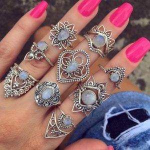 ring set, stones, silver, jewellery