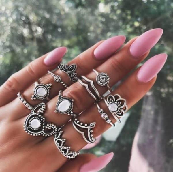 ring set, tiara, jewellery set, opal, 12 pcs