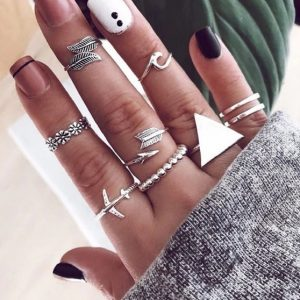ring set, triangle, airplane, wave, arrow, feather