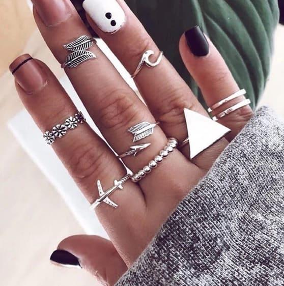 ring set, driehoek, vliegtuig, veer, golf, wave, zilver, sieraden