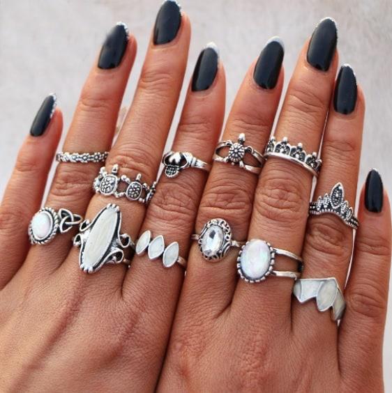 ring set, turtle, white stone, silver