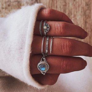 ringen set, zilver, steen, minimalistisch, aphrodite, sieraden