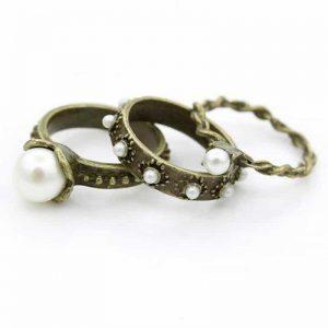 3 stuks parel ringset,ringen,ringetjes,musthave sieraad