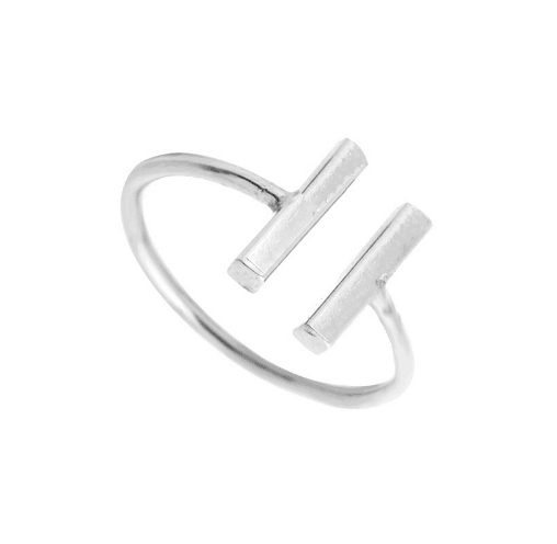07180032c Silver Delicate Double Bar Ring - Aphrodite Store