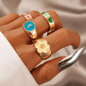 ringen set, sieraden, dames, accessoires, goud, gekleurde ringen, opvallende ringen, groot, aphrodite