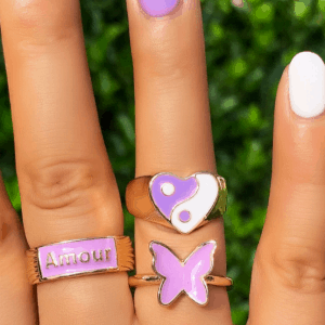 ringen set, sieraden, dames, accessoires, paars, groot, opvallende ringen, zomer, gekleurde