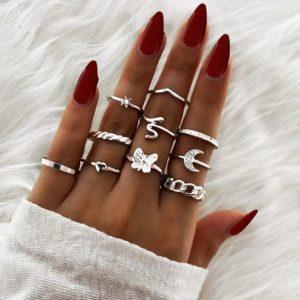 ringen set, zilver, sieraden, dames, accessoires, vlinder, maan, slang, dames, hip, leuk