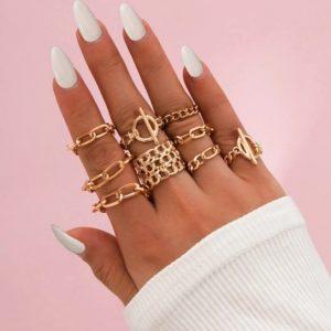 ringen set, chain, schakel, goud, sieraden, dames, mooi, leuke