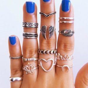 ringen set, zilver, hartje, lotus, bloem, vleugels, sieraden, jewellery, dames
