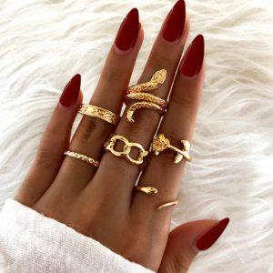 ringen set, roos, slang, sieraden, dames, hip, leuk, sieraden, accessoires