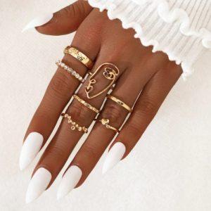 ringen set, goud, sieraden, dames, accessoires, hip, leuk, gezicht