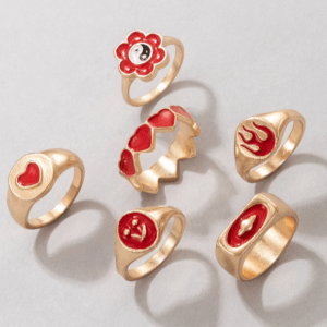 ringen set, rood, sieraden, dames, accessoires, goud, opvallende ringen, trendy