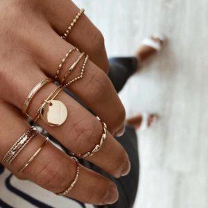 ringen set, goud, dames, sieraden, accessoires, jewellery, minimalistische ringen