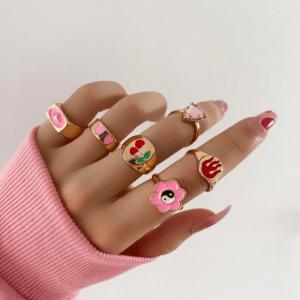 ringen set, sieraden, dames, accessoires, roze, leuk, trendy