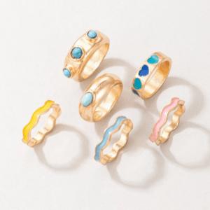 ringen set, sieraden, dames, accessoires, gekleurde ringen, groot, statement