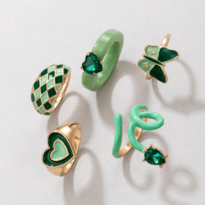ringen set, sieraden, dames, accessoires, goud, gekleurde ringen, groot, statement