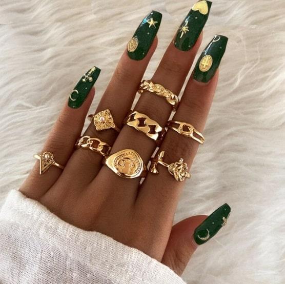 ringen set, goud, roos, chain, schakel, dames, accessoires, sieraden