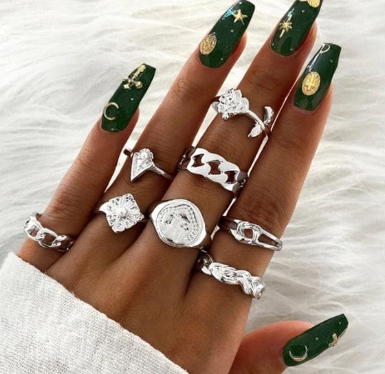 ringen set, zilver, sieraden, dames, accessoires, roos