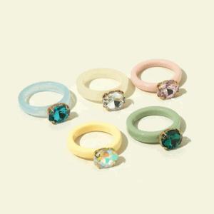 ringen set, hars, kunststof, plastic, sieraden, dames, accessoires, diamant, kristal, zomer, sieraden, accessoires