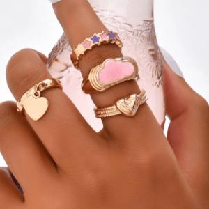 ringen set, sieraden, dames, accessoires, goud, roze, wolken, hippe, leuk