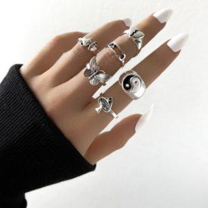 ringen set, yin yang, sieraden, dames, accessoires, zilver, leuk, hip