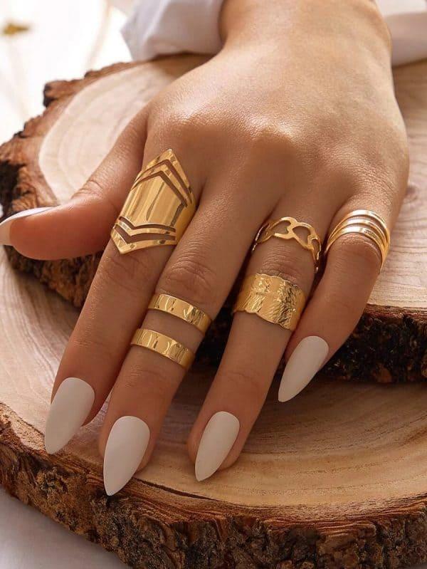 ring set, gold, 5 pcs, jewellery, jewelry, heart, leaf