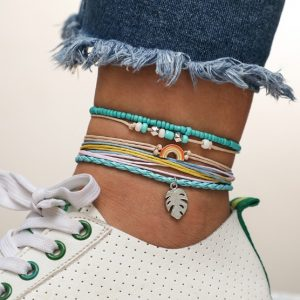 rope anklet set, rainbow, beads
