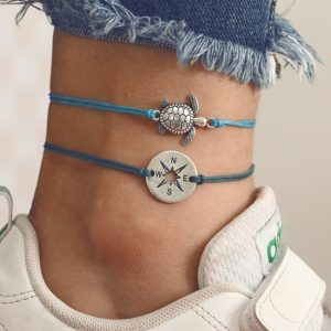 rope anklet set, turtle, compass, blue