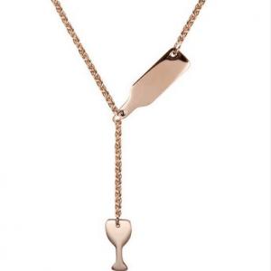 Rose Gold Fles Met Glas Ketting. Klik hier voor meer subtiele gouden kettingen. Shop alle musthave sieraden bij Aphrodite. Gratis verzending en cadeau.