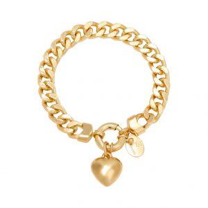 schakelarmband, chain, hartje, goud, zilver, nikkelvrij, gold plated