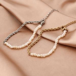 schakelarmband, parels, stainless steel, sieraden, dames, accessoires, chain, roestvrij staal