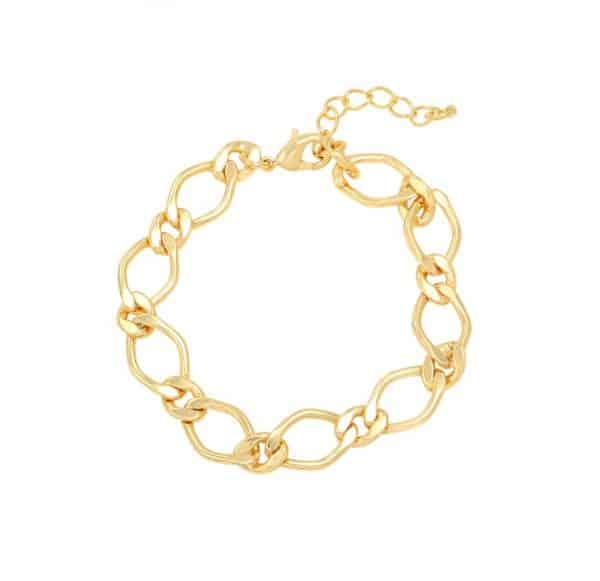 gold plated, schakelarmband, dames, sieraad, sieraden, chain, nikkel vrij