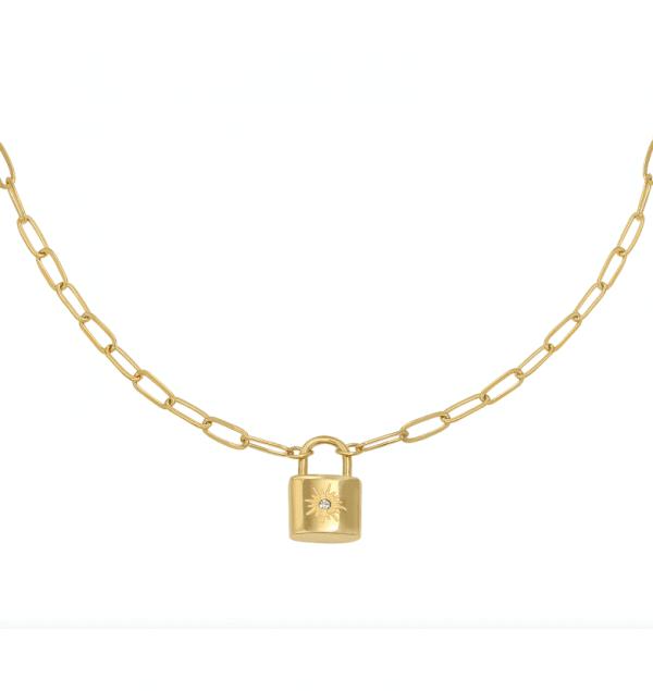 schakelketting, slot, stainless steel, roestvrije staal, nikkel vrij, dames, sieraden, jewellery, jewelry, goud, zilver