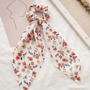 scrunchie met sjaal, bloemenprint, haaraccessoires, accessoires, dames, haarelastiekjes