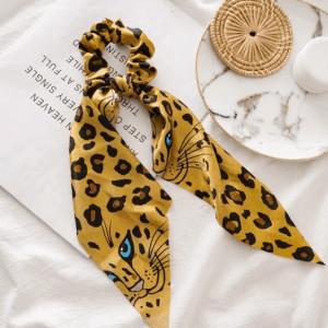scrunchie met sjaal, luipaard, print, accessoires, haaraccessoires, haarelastiekjes, dames