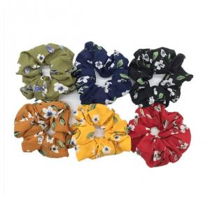 scrunchie, set, haarwokkel, bloemenprint, haaraccessoires, accessoires, haarelastiekjes